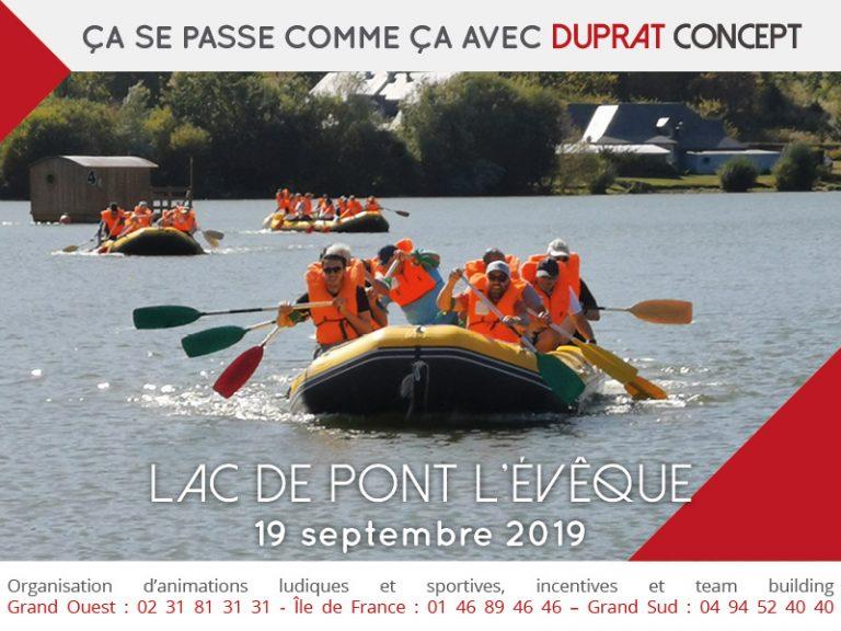 Programme team building en raft au Lac de Pont l'Évêque avec Duprat Concept