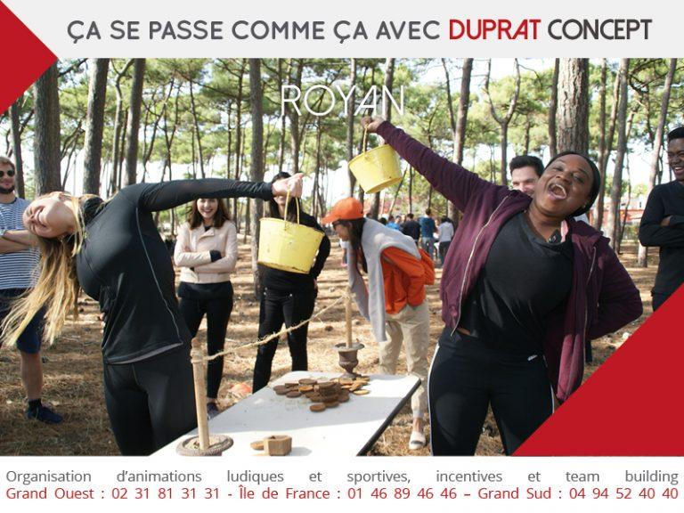 Épreuve des poids lors d'un team building dans la région de Royan avec Duprat Cooncept